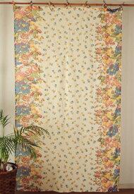 カーテン 間仕切り つっぱり おしゃれ 北欧 花柄 フラワーガーデン カントリー コットン インド綿100% ベージュ BE 丈180cm 幅110cm
