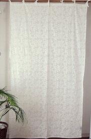 カーテン 間仕切り カーテン つっぱり おしゃれ 北欧 カントリー 花柄 刺繍 刺しゅう クローバーフラワー 綿100% コットン ホワイト 白 丈180cm 幅110cm