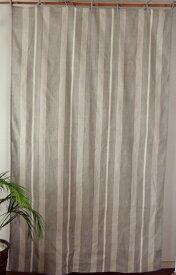 カーテン 北欧 カントリー 間仕切り つっぱり おしゃれ リネン 間仕切りカーテン オーバーストライプ 麻50% 綿50% GY 幅110cm 丈180cm