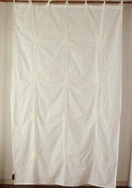 カーテン 間仕切り 北欧 つっぱり おしゃれ カントリー 刺繍 ツリーエンブロイダリー 綿100% コットン ホワイト 白 ホーンプリーズ 丈180cm 幅110cm