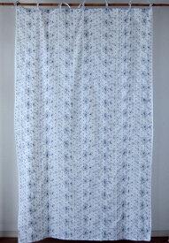 カーテン 間仕切り つっぱり 北欧 ヒュッゲ おしゃれ ドット 花柄 レース 刺繍 総柄 カントリー ラインフロース エンブロイダリー 綿100% コットン ネイビー 紺 ホワイト 白 インド綿 丈180cm 幅110cm