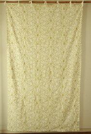 カーテン 間仕切り つっぱり 北欧 ヒュッゲ おしゃれ ドット 花柄 レース 刺繍 総柄 アジアン カントリー ボタニック エンブロイダリー 綿100% コットン 間仕切りカーテン グリーン 黄緑 カーキ ライトグリーン ホワイト 白 インド綿 丈180cm 幅110cm