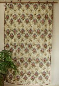 カーテン 間仕切り つっぱり おしゃれ カントリー 北欧 花柄 ガーランドフラワー インド綿100% コットン 白 ピンク PI 丈180cm 幅110cm