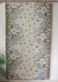 カーテン 間仕切り つっぱり おしゃれ ヒュッゲ 北欧 花柄 フルリール カントリー 綿麻100% コットン ナチュラル BR 180cm 110cm