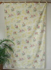 カーテン 間仕切り つっぱり おしゃれ 北欧 カントリー 花柄 アンティークローズ 綿100% コットン ナチュラル NT 丈180cm 幅110cm