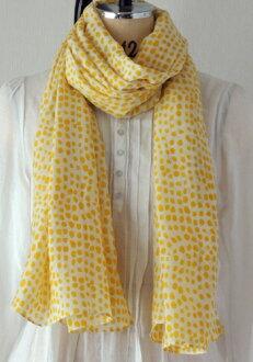 棉布货摊大型春天夏天北欧漂亮的点印度棉棉布丝绸Pintos点白黄色芥子围巾