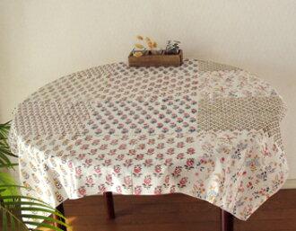 테이블 크로스 컨트리/꽃무늬/패치워크 프린트 핸드 블록 프린트 플라워 링 차트/핑크/PI/커튼/사각/100cm×100cm