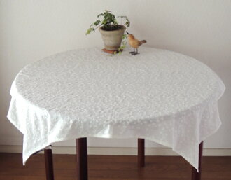 Tablecloth North Europe country flower embroidery fashion トレフルエンブロイダリーレースホワイト white cotton square circle cyclamate stop cross India cotton approximately 100cm *100cm
