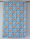 ベッドカバー シングル マルチカバー おしゃれ 北欧 長方形 モロッコ アジアン かわいい 花柄 リタフラワー インド綿 ヒュッゲ マルチカラー ブルー 青 緑 オレンジ BL ソファカバー マルチクロス コットン 綿100% 綿 幅145cm 丈225cm