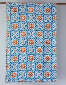 マルチカバー おしゃれ 北欧 長方形 モロッコ アジアン かわいい 花柄 リタフラワー インド綿 ヒュッゲ マルチカラー ブルー 青 緑 オレンジ BL ベッドカバー ソファカバー マルチクロス シングル コットン 綿100% 綿 幅145cm 丈225cm