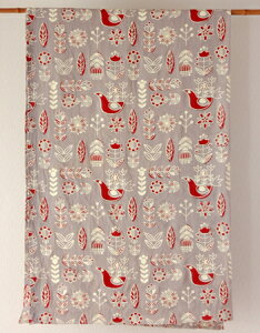 マルチカバー おしゃれ 北欧 長方形 アジアン かわいい 小鳥と花柄 フラワーバード インド綿 ヒュッゲ グレー レッド 赤 GY ベッドカバー ソファカバー マルチクロス シングル コットン 綿100%