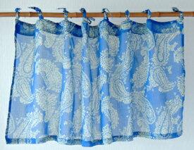 カフェカーテン アジアン 北欧 花柄 つっぱり オリエンタルペイズリー インド綿 コットン おしゃれ ネイビー 紺 NV 丈45cm 幅105cm