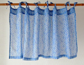 カフェカーテン おしゃれ アジアン 北欧 幾何柄 ベルフラワー インド綿 コットン ブルー BL 丈45cm 幅105cm 間仕切り つっぱり
