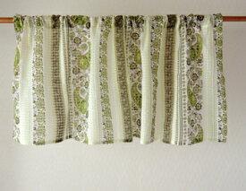 カフェカーテン おしゃれ 北欧 アジアン 花柄 ドローフラワー インド綿 コットン 白 グリーン GR 丈45cm 幅105cm 間仕切り つっぱり