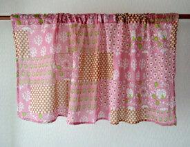 カフェカーテン アジアン 花柄 ブーティパッチワーク フラワープリント インド綿 コットン 綿100% ピンク PI 丈45cm 幅100cm 間仕切り つっぱり おしゃれ かわいい