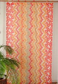 カーテン 間仕切り つっぱり おしゃれ 北欧 アジアン 花柄 アジアン フラワーウェーブ インド綿 レッド 赤 コットン 丈180cm×幅105cm