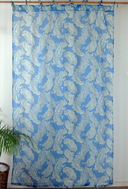間仕切り カーテン おしゃれ 花柄 つっぱり オリエンタルペイズリー 北欧 アジアン インド綿 ネイビー 紺 ブルー コットン 綿100% 丈178cm 幅105cm