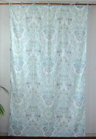 カーテン 間仕切り つっぱり 北欧 アジアン おしゃれ 花柄 エマフラワー インド綿 白 ブルー BL コットン 幅105cm 丈178cm