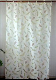 カーテン 間仕切り つっぱり おしゃれ アジアン 北欧 インド綿 透ける小鳥の羽根柄 プルームフェザー バーンアウト ナチュラル NT コットン 丈178cm 幅105cm