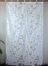 カーテン 間仕切り つっぱり おしゃれ インド綿 アジアン 北欧 透ける小鳥と花柄 キュイキュイフラワー バーンアウト ナチュラル NT コットン 丈178cm 幅105cm