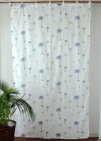 カーテン 間仕切り つっぱり アジアン マリン柄 パームツリー インド綿 ボイル 白×ネイビー NV コットン 丈178cm 幅105cm