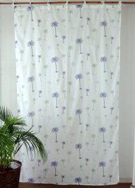 カーテン 間仕切り つっぱり おしゃれ 北欧 アジアン マリン柄 パームツリー インド綿 ボイル 白 ネイビー NV ブルー コットン 丈178cm 幅105cm