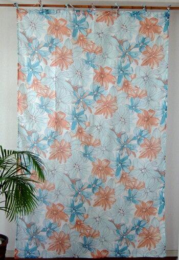 カーテン 間仕切り つっぱり アジアン 花柄 北欧 フロレンゾフラワー インド綿 ボイル 白×コーラルオレンジ×ブルー OR コットン 丈178cm 幅105cm