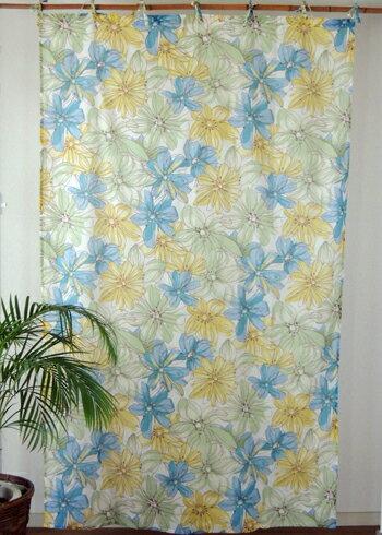 カーテン 間仕切り つっぱり アジアン 花柄 フロレンゾフラワー インド綿 ボイル 白×イエローブルー YE コットン 丈178cm 幅105cm