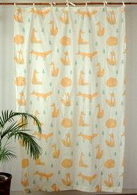カーテン 間仕切り つっぱり おしゃれ アジアン 北欧 アニマル柄 きつねの森 インド綿 ボイル オレンジ OR 子供部屋 コットン 綿100% 丈178cm 幅110cm