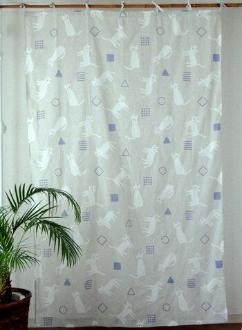 カーテン 間仕切り つっぱり おしゃれ 北欧 アニマル柄 ねこのお散歩 インド綿 ボイル グレー GY 子供部屋 コットン 間仕切りカーテン 丈178cm 幅110cm