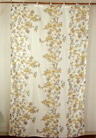 間仕切り カーテン つっぱり おしゃれ 北欧 アジアン 花柄 カントリー レフィナドフラワー インド綿 ボイル 白 ナチュラル NT コットン 178cm丈 105cm幅