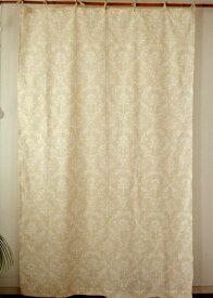 カーテン 間仕切り つっぱり おしゃれ 北欧 アジアン ナチュラル 花柄 マルルフラワー インド綿 綿100% ベージュ NT コットン 178cm丈 105cm幅