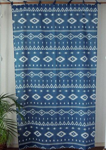 カーテン 間仕切り つっぱり おしゃれ アジアン 幾何柄 プレーンエスニック インド綿 ネイビー 白 紺 コットン 綿100% 丈178cm 幅110cm