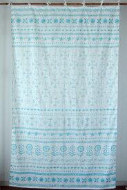 カーテン 間仕切り つっぱり おしゃれ アジアン 北欧 花柄 エルスフラワー インド綿 白 ブルー BL 綿100% コットン 丈178cm 幅105cm