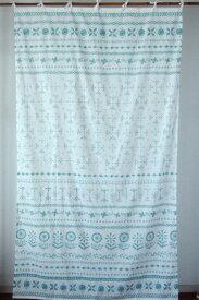 カーテン 間仕切り つっぱり おしゃれ アジアン 北欧 花柄 エルスフラワー インド綿 白 ミント GR コットン 丈178cm 幅105cm