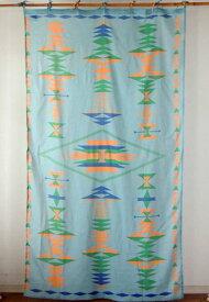 間仕切り カーテン つっぱり インド綿 民族調 幾何柄 アジアン エスニック オルテガパターン おしゃれ ブルー BL コットン 180cm丈 105cm幅