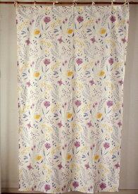 間仕切り カーテン おしゃれ 北欧 アジアン 花柄 つっぱり セフィーロフラワー インド綿 コットン 綿100% 白 パープル コットン 丈178cm 幅105cm