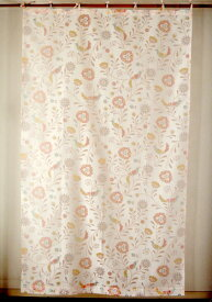 カーテン 間仕切り つっぱり おしゃれ インド綿 コットン アジアン 北欧 透ける小鳥と花柄 パハロフラワーバード バーンアウト 白地 ピンク系 PI 丈178cm 幅105cm