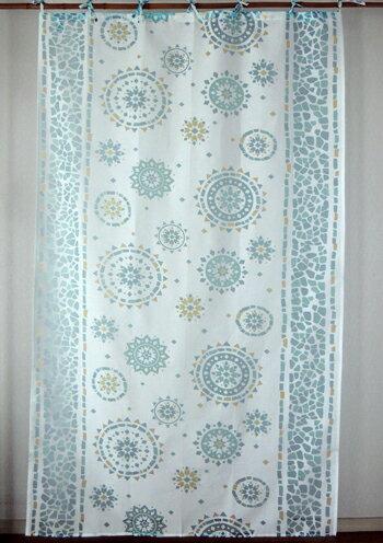 カーテン 間仕切り つっぱり 北欧 おしゃれ 透けるモザイク柄 セビリアフラワー アジアン バーンアウト 白 ブルー BL インド綿 コットン100% 長さ178cm 幅105cm