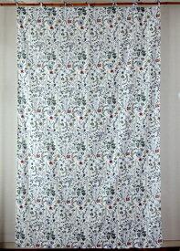 カーテン 間仕切り つっぱり 北欧 ヒュッゲ アジアン おしゃれ かわいい 花柄 ソナチネロフラワー インド綿 白 ナチュラル マルチ コットン100% 丈178cm 幅105cm