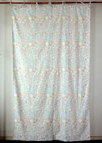 カーテン 間仕切り つっぱり 北欧 ヒュッゲ アジアン おしゃれ かわいい 花柄 ソナチネロフラワー インド綿 グレー ナチュラル マルチ コットン100% 丈178cm 幅105cm
