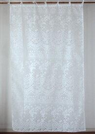 カーテン 間仕切り つっぱり 北欧 おしゃれ 透けるアンティークレース柄 花柄 ベルフラワー アジアン バーンアウト オパール加工 白 ホワイト WH インド綿 コットン 長さ178cm 幅105cm