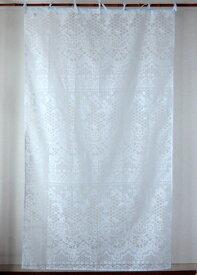 カーテン 間仕切り つっぱり 北欧 おしゃれ 透けるアンティークレース柄 花柄 ベルフラワー アジアン バーンアウト オパール加工 ライトブルー 水色 BL インド綿 コットン 長さ178cm 幅105cm