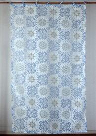 カーテン 間仕切り つっぱり 北欧 おしゃれ 透けるモザイクタイル柄 花柄 セリンフラワー アジアン バーンアウト オパール加工 白 ブルー ネイビー BL 青 紺 インド綿 コットン 長さ178cm 幅105cm
