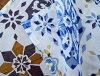 窗帘隔开支柱北欧玩笑透明的马赛瓷砖花纹花纹丝氨酸花竹荚鱼安烧尽蛋白石加工白蓝色深蓝BL青藏青色印度棉棉布长178cm宽105cm
