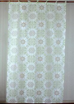 カーテン・間仕切り・インド綿・透けるモザイクタイル柄・セリンフラワー