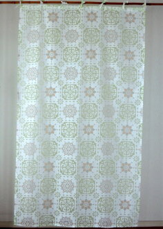 窗帘隔开支柱北欧打扮得漂亮,透明的马赛瓷砖花纹花纹丝氨酸花竹荚鱼安烧尽蛋白石加工白绿色的GR印度棉棉布长178cm宽105cm