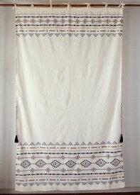 カーテン 間仕切り つっぱり おしゃれ 北欧 幾何柄 ジダンエスニック アジアン インド綿 ナチュラル ベージュ コットン 綿100% 丈178cm 幅105cm