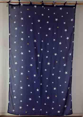 間仕切り カーテン つっぱり アジアン 北欧 星柄 キラキラ星空 子供部屋 スターナイト インド綿 ネイビー 白 紺 コットン 丈178cm 幅105cm
