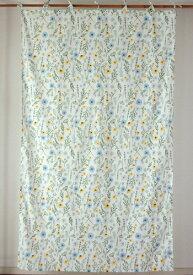 カーテン 間仕切り つっぱり 北欧 ヒュッゲ アジアン おしゃれ かわいい 花柄 エリシアンフラワー インド綿 綿 綿100% 白 ナチュラル マルチ ブルー グリーン コットン100% 間仕切りカーテン 丈178cm 幅105cm